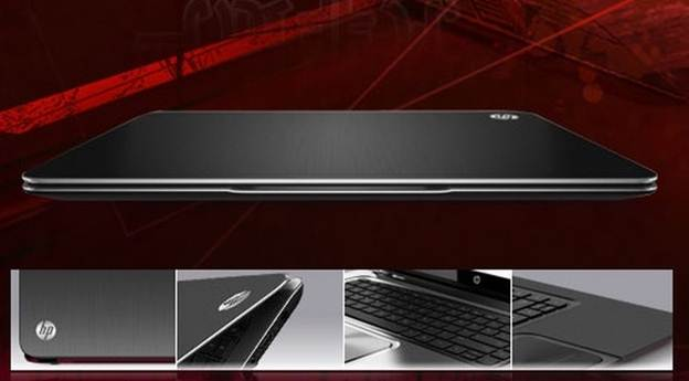 HP Envy 4 black on red background close lid ultra thin