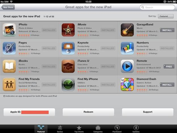 Apple New iPad 16GB Wifi (Ipad 3 2012) Apps Features