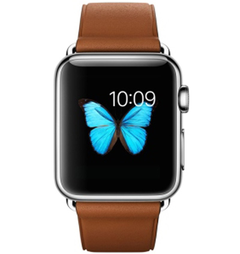 Apple Watch 38mm Stainless Steel Case with Saddle Brown Classic Buckle MLCL2VN/A