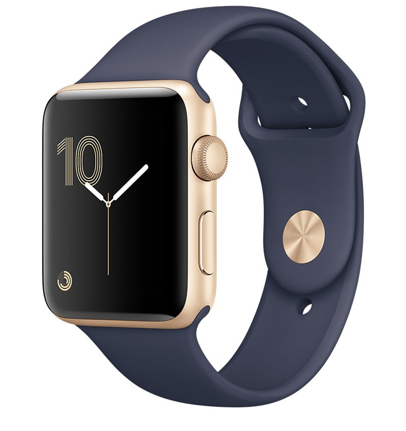 Apple Watch Series 2, 42mm Gold Aluminium Case with Midnight Blue Sport Band