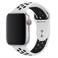 Apple Dây đeo Apple Watch 44mm Pure Platinum/Black Nike Sport Band - S/M & M/L