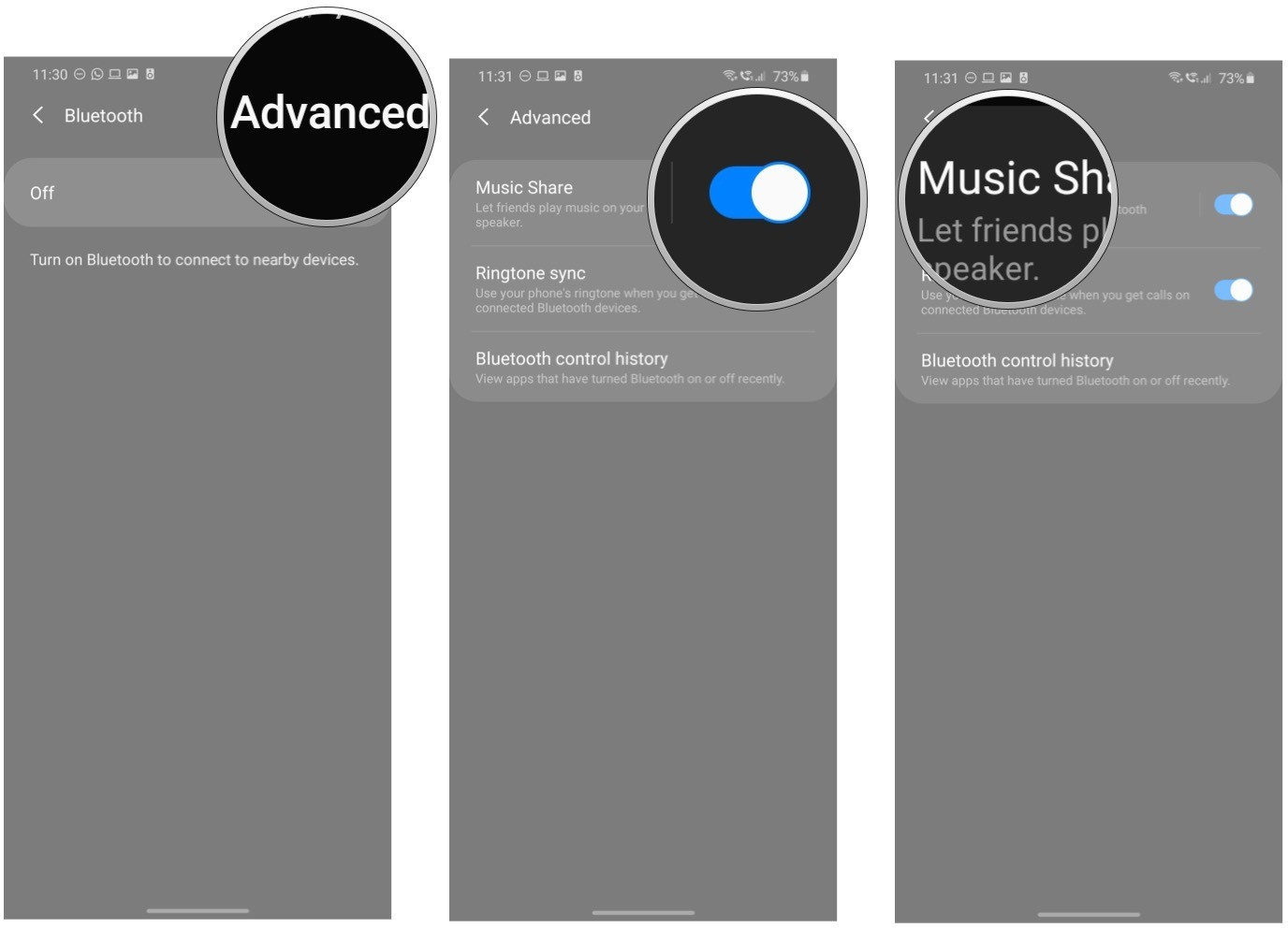 Hướng dẫn bật và tắt tính năng Music Share trên Galaxy S20